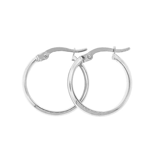 White Gold Bonded 15mm Hoops