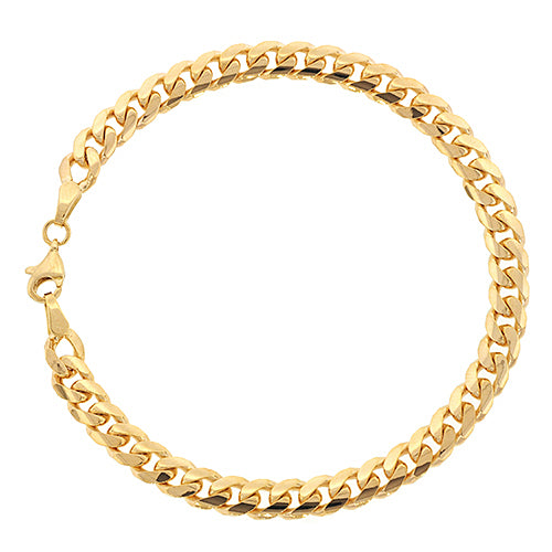 9ct Gold 19cm Solid Curb Bracelet