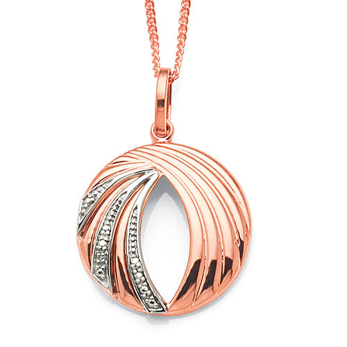 9ct Rose Gold Diamond 20mm Circle Pendant