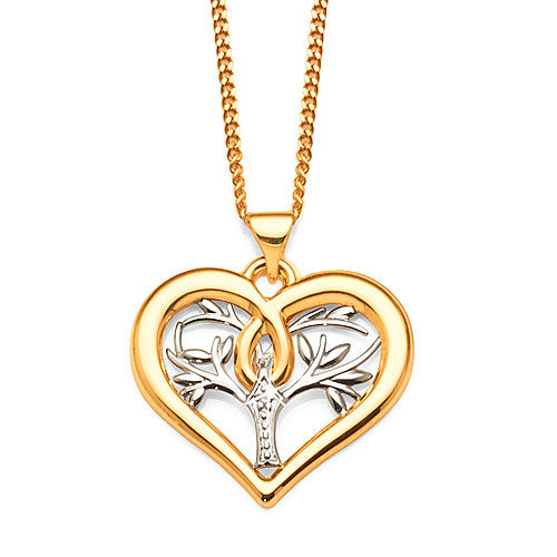 9ct 2-Tone Gold Diamond Heart Pendant