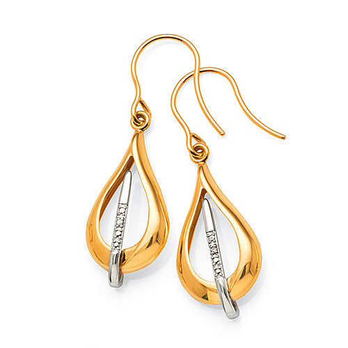 9ct Gold Diamond Drop Hook Earrings