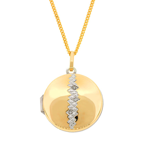 9ct Yellow Gold Sterling Silver Diamond Locket