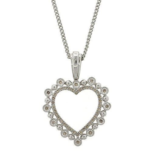 9ct White Gold Diamond Heart Pendant TW 0.16CT