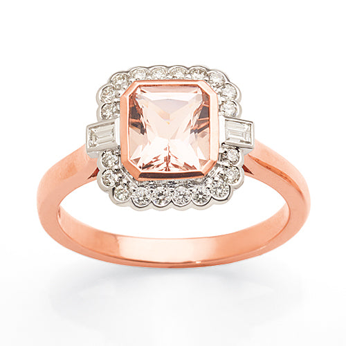 9ct 2-Tone Morganite Diamond Ring