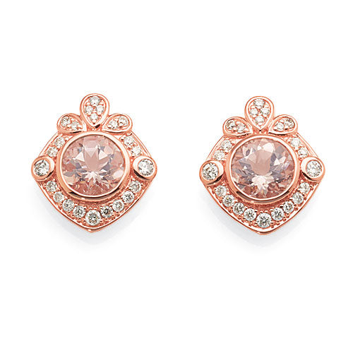 9ct Rose Gold Morganite Diamond Studs