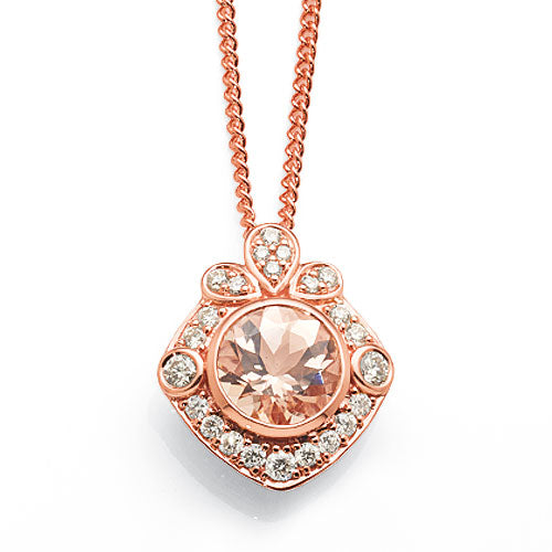 9ct Rose Gold Morganite Diamond Pendant