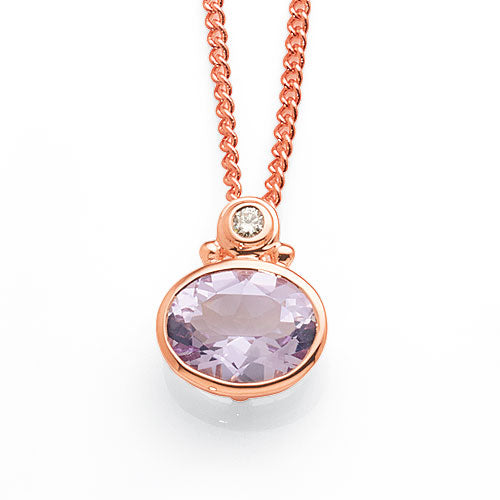 9ct Rose Gold Pink Amethyst Diamond Pendant