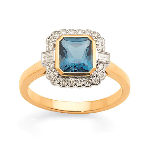 9ct 2-Tone 'London Blue' Topaz Diamond Ring