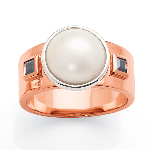 Mark McAskill Mabe Pearl and Sapphire 9ct Rose Gold Ring