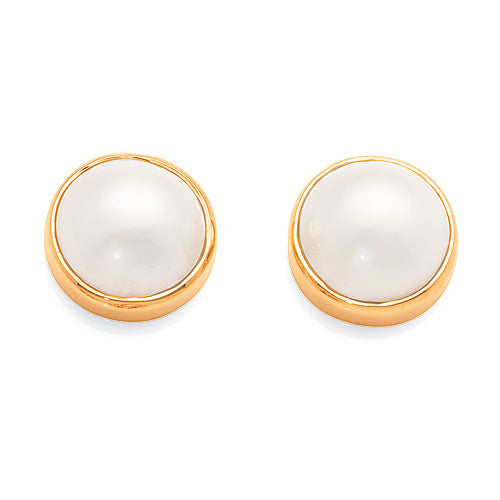 9ct Yellow Gold Mabe Pearl Studs