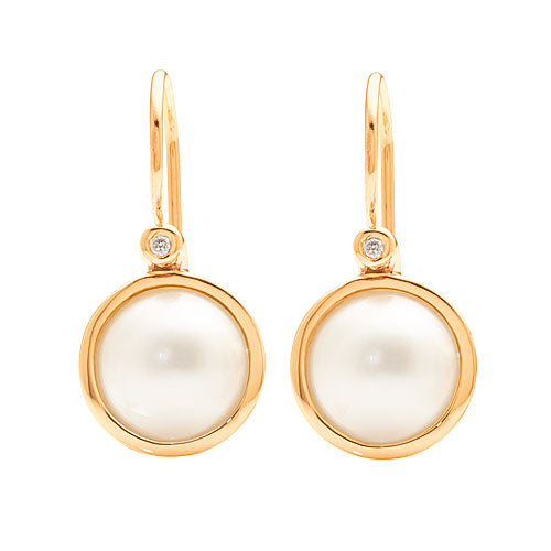 9ct Yellow Gold Mabe Pearl Diamond Hooks