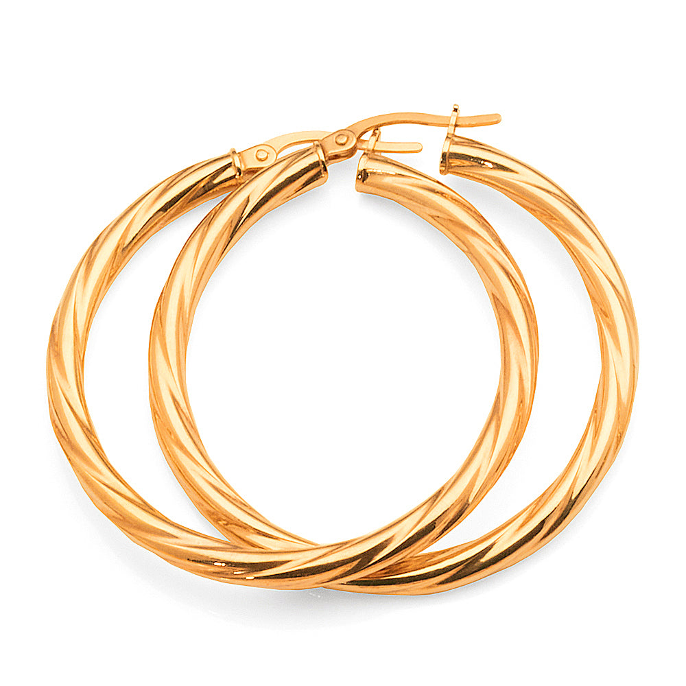 9ct Gold 30mm Twist Hoop Earrings
