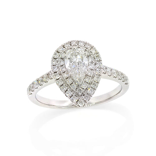 TW 1ct Diamond Halo Ring 9ct White Gold