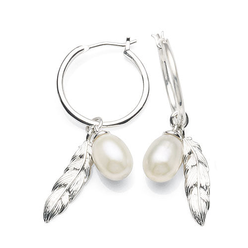 Sterling Silver 15mm Pearl & Feather Hoops
