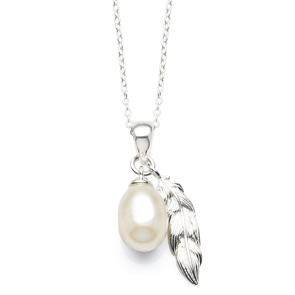 Sterling Silver 45cm Pearl & Feather Necklet