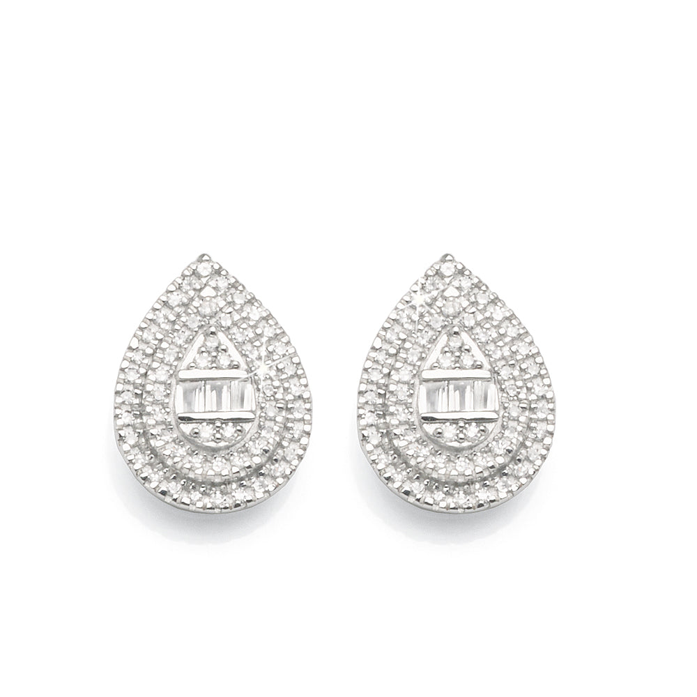 9ct White Gold Diamond Pear-Shaped Studs TW 0.17CT