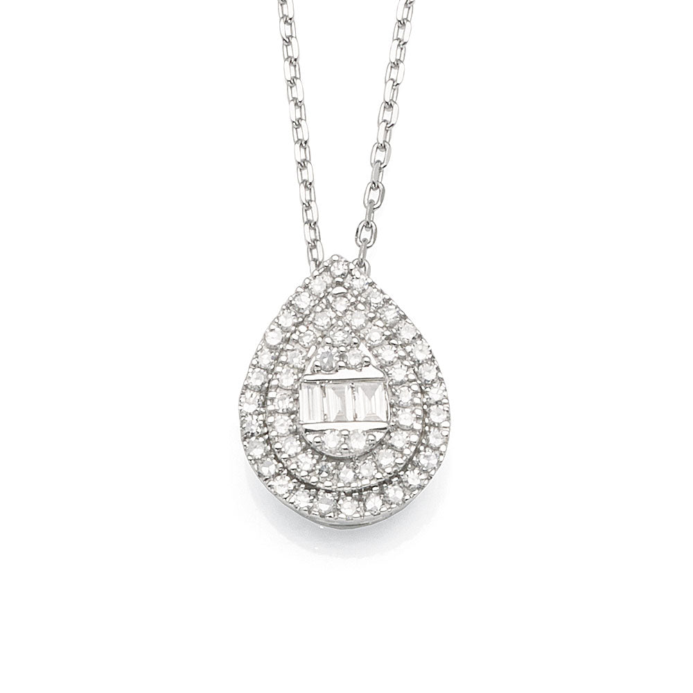 9ct White Gold 42cm Diamond Necklet TW 0.15CT