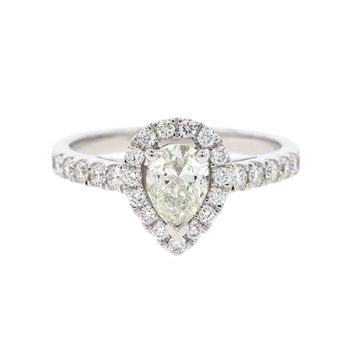 Pear Shape Diamond Halo Ring in 18ct White Gold