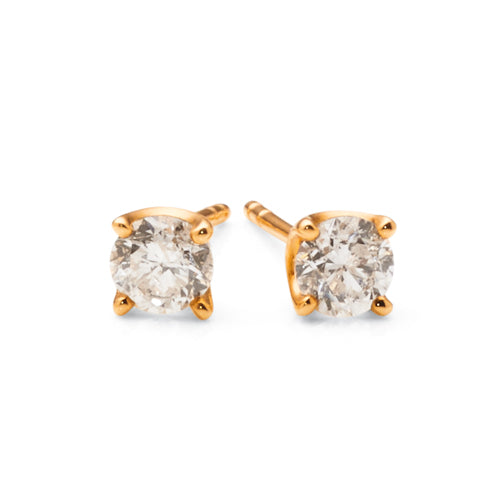 9ct Yellow Gold Diamond Stud Earrings TW: 1 Carat