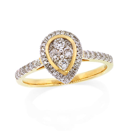 9ct Gold Pear-Shape Diamond Ring TW 0.51CT