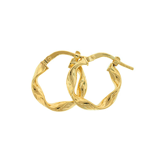 9ct Yellow Gold Twist 13mm Hoops