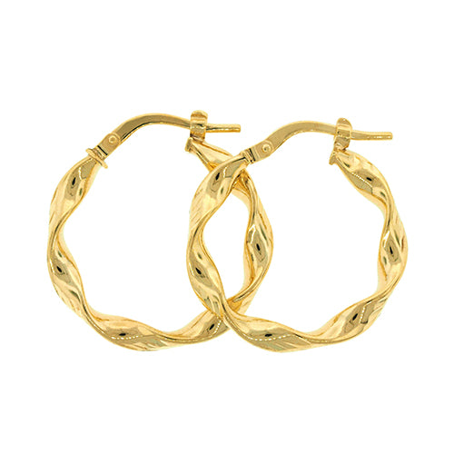 9ct Yellow Gold 15mm Twist Hoops