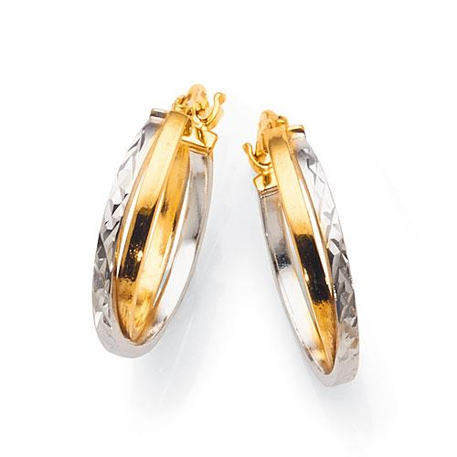 9ct 2-Tone Gold 15mm Hoop Earrings