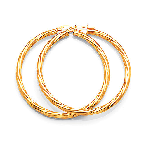 9ct Gold Bonded 40mm Twist Hoop Earring