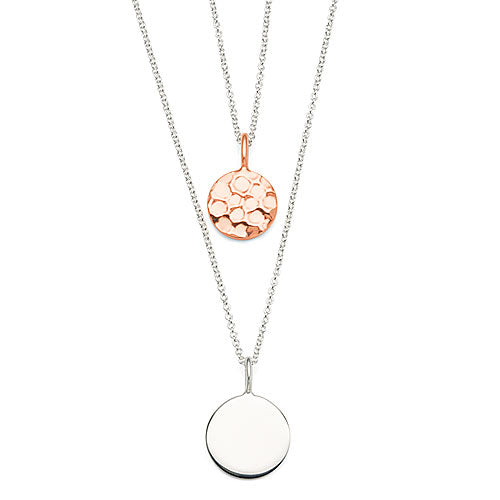 Sterling Silver Rose-Tone Double Necklet
