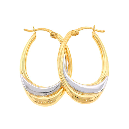 2-Tone Gold Bonded Oval Hoops