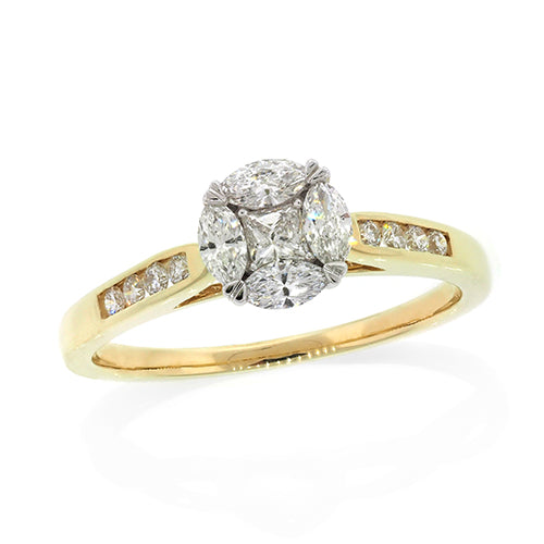 Princess Cut Diamond Cluster Ring in 9ct Gold