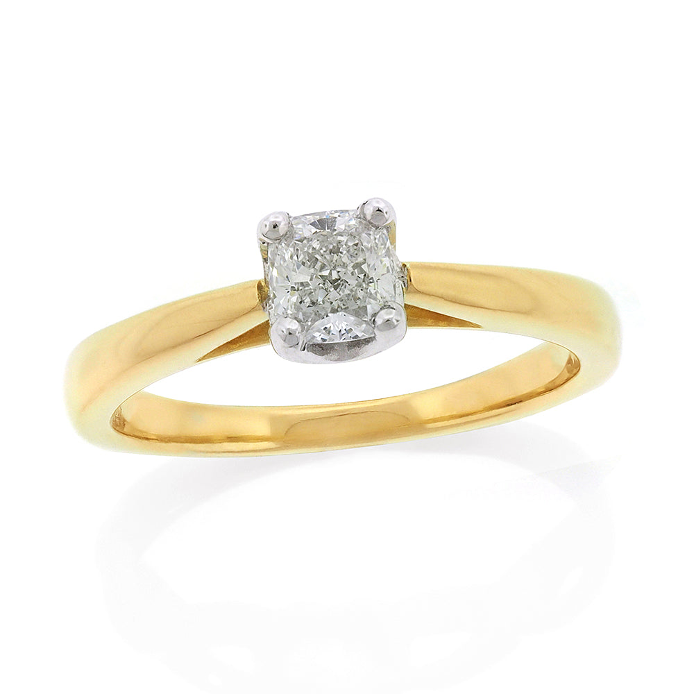 18ct Gold 0.50ct Cushion Cut Solitaire Diamond
