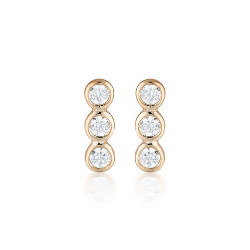 Georgini 'Trio' Rose-Tone CZ Drop Studs E930RG