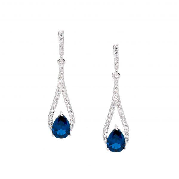 Ellani London Blue Cubic Zirconia Earrings E532LB