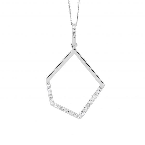 Ellani Sterling Silver Abstract 44cm Necklet P836S