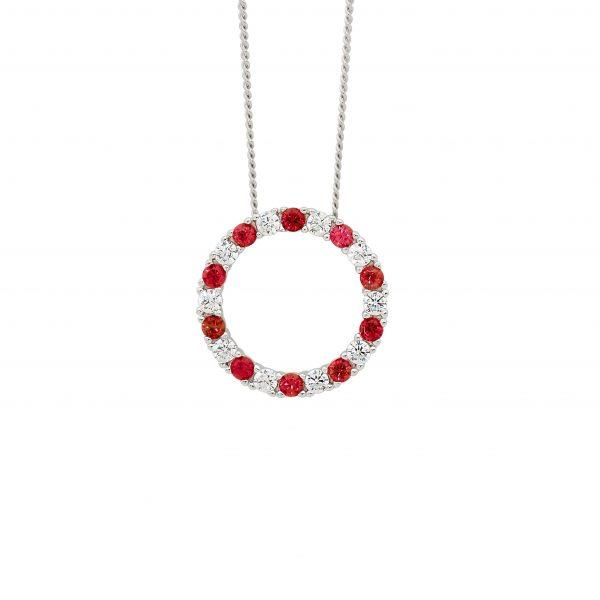 Ellani Red Cubic Zirconia Circle Necklet P838RD