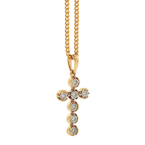 9ct Gold Diamond Cross Pendant TDW 0.07CT