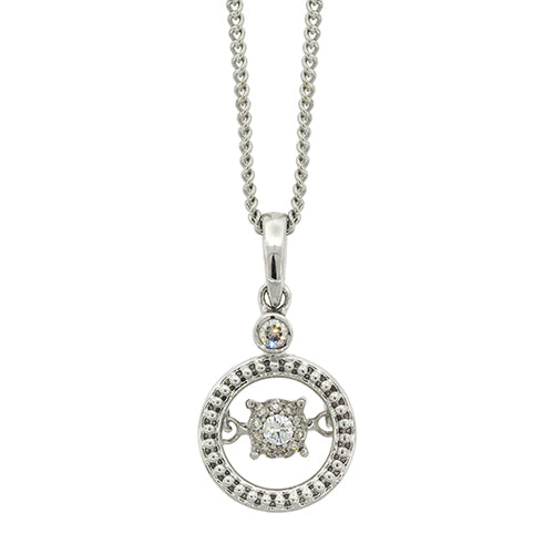 9ct White Gold Diamond Dancing Circle Pendant