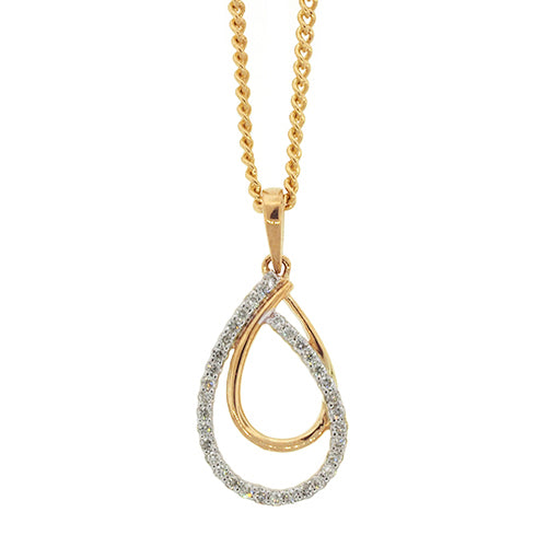 9ct Gold Diamond Drop Pendant TDW 0.11CT