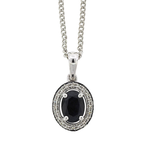 9ct White Gold Natural Sapphire & Diamond Pendant