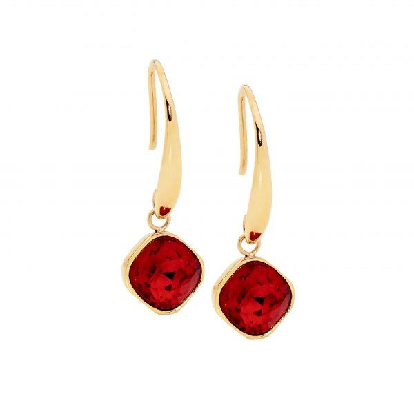 Ellani Gold-Tone Red Glass Hooks SE200RD-G