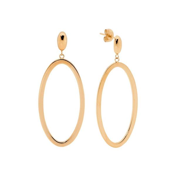 Ellani Rose-Tone 43mm Oval Drop Earrings SE218R