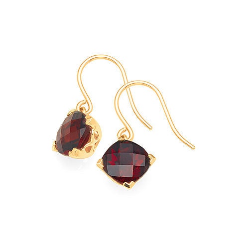 9ct Gold Garnet Hook Earrings