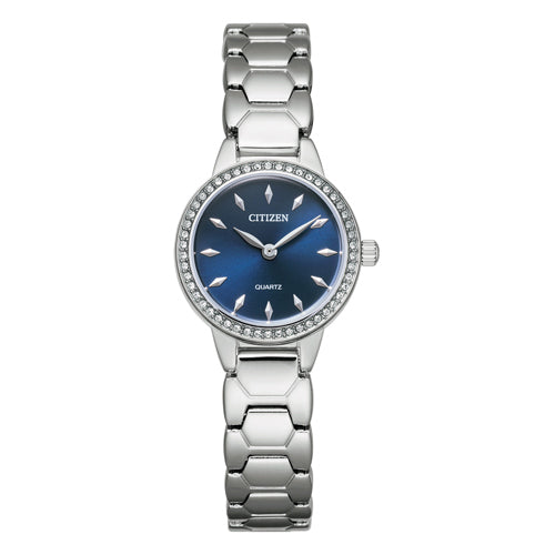 Citizen Silver Swarovski Blue Dial Watch EZ7010-56