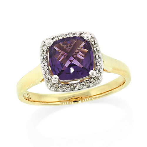 9ct Gold Cushion-Cut Amethyst Dress Ring