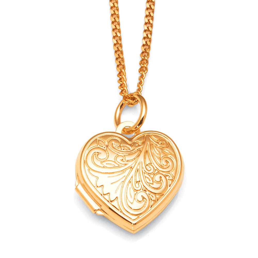 9ct Gold 15mm Etched Heart Locket