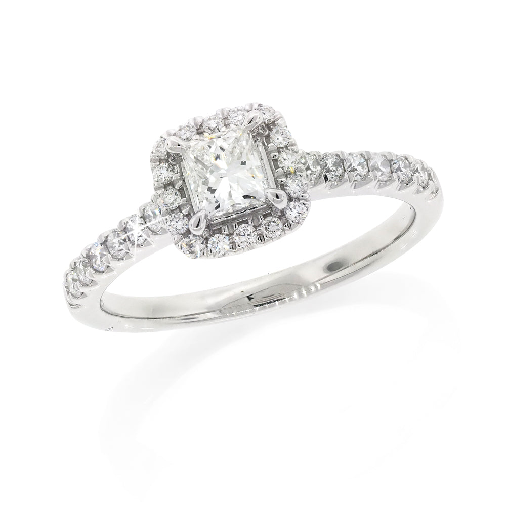 9ct White Gold Princess Diamond Ring TDW 0.72CT