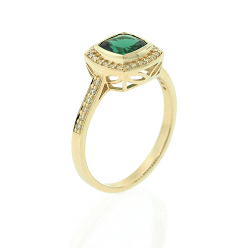 9ct Gold Created Emerald and Diamond Ring