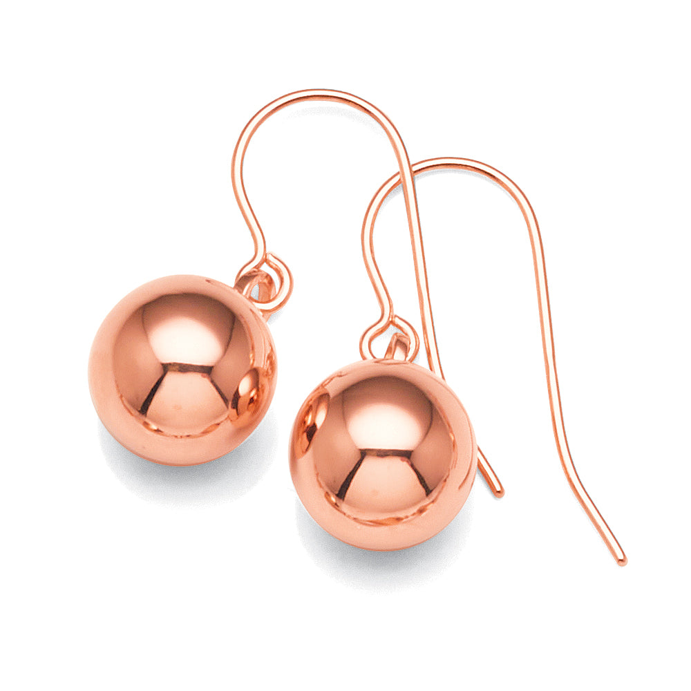 9ct Rose Gold 8mm Euroball Hook Earrings