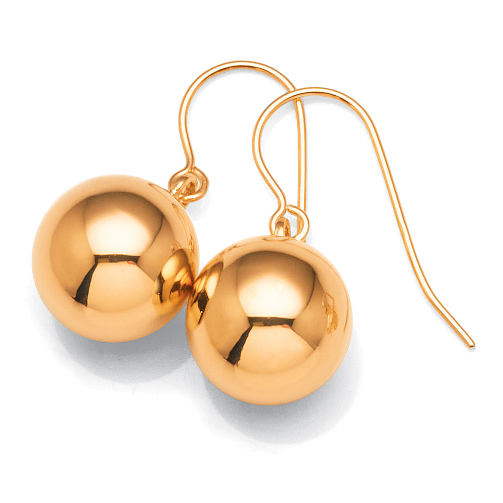 9ct Gold 10mm Euroball Hook Earrings